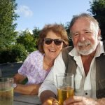 Mum and Dad enjoying a cider in our garden