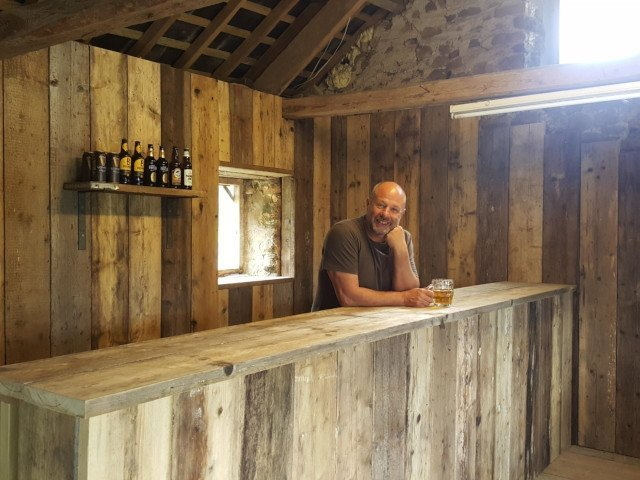 Dave behind The Three Spaniels Micropub bar