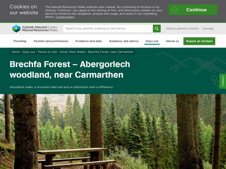 Natural Resources Wales Brechfa Forest website page screenshot