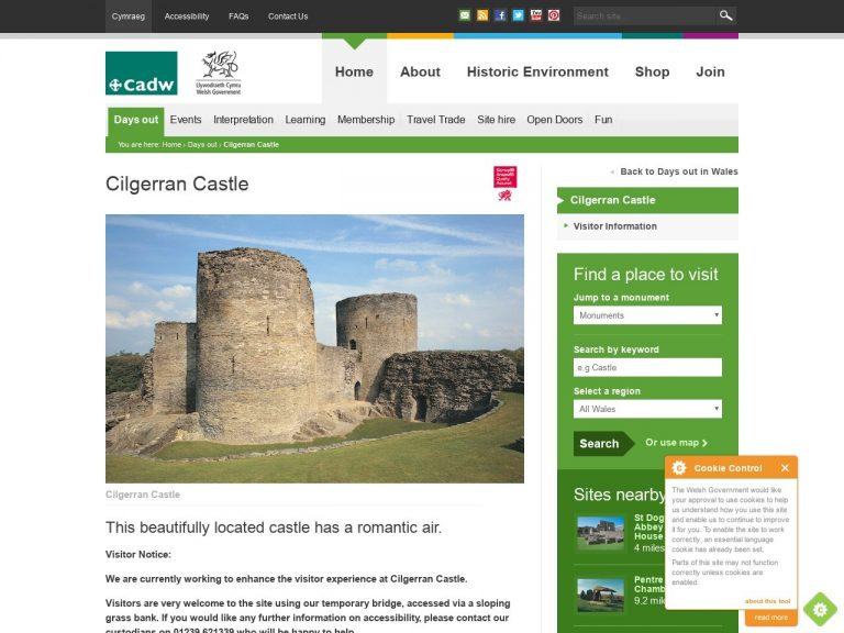 Cadw - Cilgerran Castle website page screenshot
