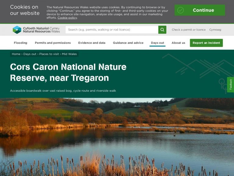 Natural Resources Wales - Cors Caron website page screenshot