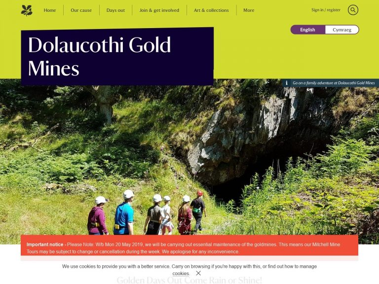 National Trust - Dolaucothi Gold Mines website page screenshot