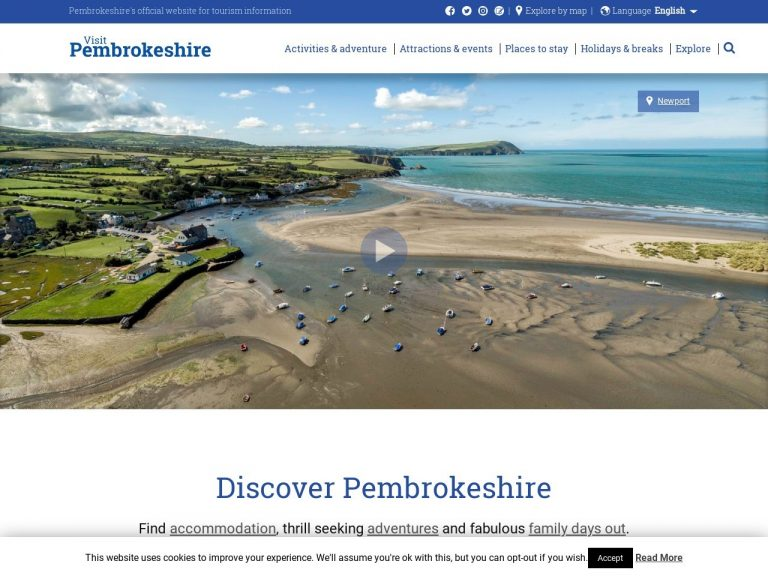 Visit Pembrokeshire website screenshot