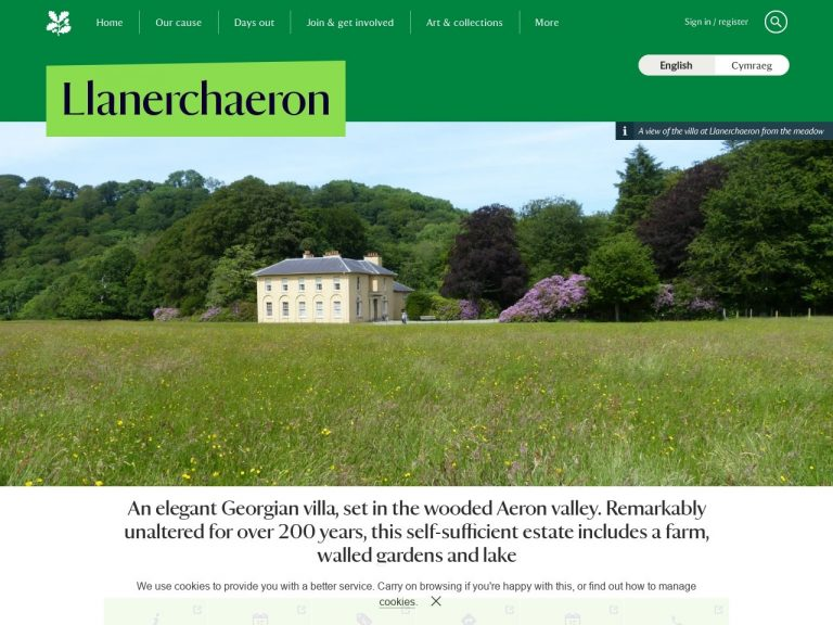 Llanerchaeron website screenshot