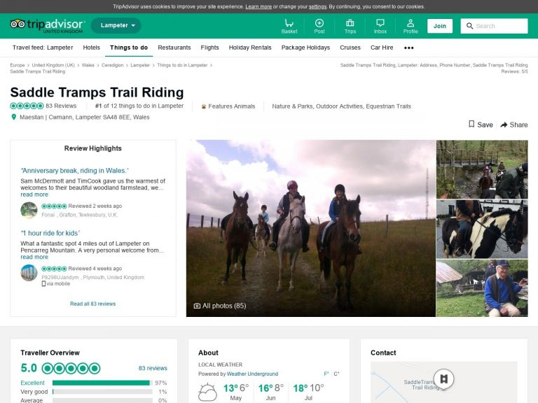 Saddle Tramps Trail Riding Trip Advisor website page screenshot