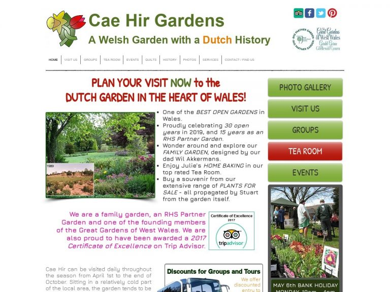 Cae Hir Gardens website screenshot